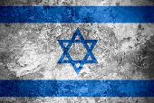 stock photo of israeli flag  - flag of Israel or Israeli banner on vintage metal texture - JPG