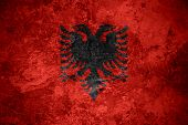 picture of albania  - flag of Albania or Albanian banner on vintage metal texture - JPG