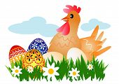 Hen with Easter Eggs