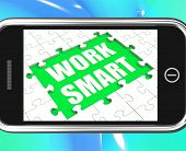 Work Smart Tablet Shows Worker Enhancing Productivity