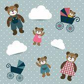 Kids retro wallpaper design. Cute bear family.