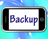 Backup Smartphone Shows Data Copying Or Backing Up