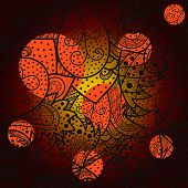 Seamless wave hand-drawn pattern with bright orange and yellow spots