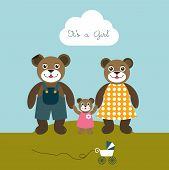 Babygirl born card. New born welcome concept. Children vector background. Teddy bear concept.