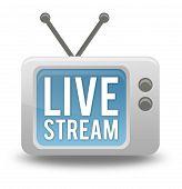 Cartoon-style Tv Icon Live Stream