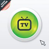 Retro TV sign icon. Television set symbol.