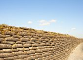 stock photo of sandbag  - Trenches of death WW1 sandbag flanders fields Belgium - JPG