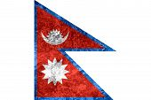 stock photo of nepali  - flag of Nepal or Nepali banner on vintage metal texture - JPG