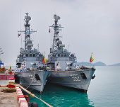 Phuket, Thailand - 22 Feb 2013: Two Military Myanmar Ships Anchored In Phuket, Thailand. It Is A Vis