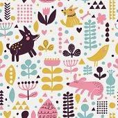 stock photo of bird-dog  - Bright childish seamless pattern with birds and funny dogs in vector - JPG