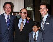 LOS ANGELES - APR 7:  Tim DeKay, Willie Garson, Nathen Garson, Matt Bomer at the Alliance for Childr
