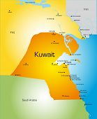 picture of kuwait  - Detailed vector color map of Kuwait country - JPG
