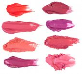 picture of lipstick  - Lipstick smears isolated on white background - JPG