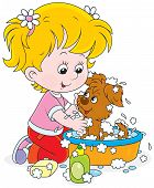 stock photo of wash-basin  - Little girl washes her small pup in a basin with lather - JPG