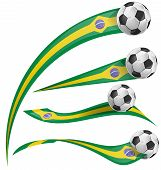 pic of brasilia  - brazil flag set with soccer ball on white background - JPG