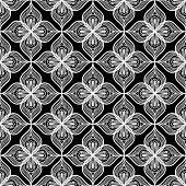 White Openwork Lace Seamless Pattern On Black Dackground