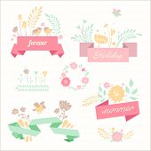Vector summer ribbon banners in retro naive style with cute hand painted floral pictures. Decorative set for invitations.