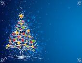 foto of alder-tree  - christmas tree  on the blue background - JPG