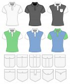 Men's short sleeve shirt design templates. Different color variants and different pockets. Vector il
