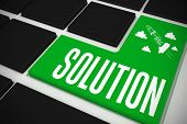 The word solution and idea and innovation graphic on black keyboard with green key
