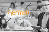 The word german against lecturer standing in front of his class in lecture hall