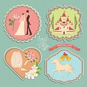 picture of wedding feast  - A set of labels with the wedding items for wedding invitations template in retro style - JPG