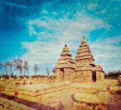 Vintage retro hipster style travel image of famous Tamil Nadu landmark - Shore temple, world  herita