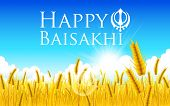 illustration of Happy Baisakhi background with paddy field