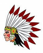 pic of valiant  - Native indian people with feathers on the head for mascot and emblems - JPG
