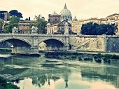 Bridge Over River Tiber In Rome