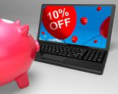 Ten Percent Off Laptop Means Online Sale And Bargains