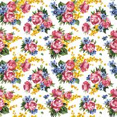 Peony flowers and leaves seamless pattern background, raster illustration
