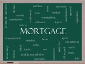 stock photo of amortization  - Mortgage Word Cloud Concept on a Blackboard with great terms such as loan home banker and more - JPG