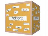stock photo of amortization  - Mortgage 3D cube Corkboard Word Concept with great terms such as buyers rates fixed and more - JPG