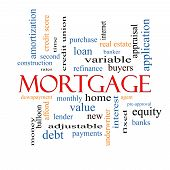 image of amortization  - Mortgage Word Cloud Concept with great terms such as loan home banker and more - JPG