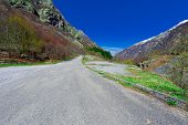 foto of italian alps  - Winding Paved Road in the Italian Alps - JPG