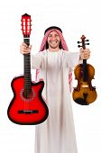 stock photo of minstrel  - Arab musician with violin and guitar isolated on whit - JPG