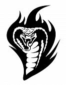 stock photo of cobra  - Cobra tattoo in tribal style with black flames - JPG