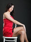 Showgirl Woman Dance In Red Dress Chair