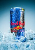 MOSCOW, RUSSIA-APRIL 4, 2014: Can of Red Bull Energy Drink. In terms of market share, Red Bull is th