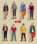 Hipster man in fashion set