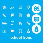 school, study icons set, vector