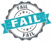 Fail Turquoise Grunge Retro Vintage Isolated Seal