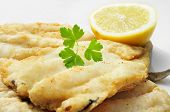 picture of hake  - closeup of a plate with battered and fried hake - JPG