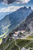 Hikers At Norkette Mountain, Innsbruck, Austria.