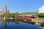 HONG KONG ISLAND, CHINA - JANUARY 1 : Pine Teahouse (Song Cha Xie) at Blue Pond inside Nan Lian Gard
