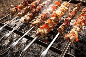 Kebab On Metal Skewers Grilling On Fire