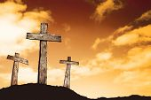 stock photo of cross hill  - Three crosses on a hill - JPG