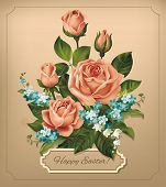foto of easter lily  - Easter vintage card with roses - JPG