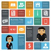 Flat business infographics design elements